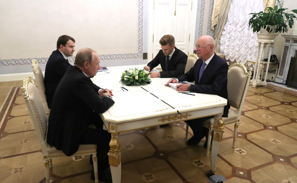 Russian President Vladimir Putin Meets with World Economic Forum Chairman Klaus Schwab